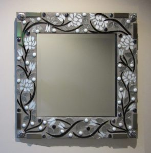 Sharon Carroll silver rose mirror glass mosaic
