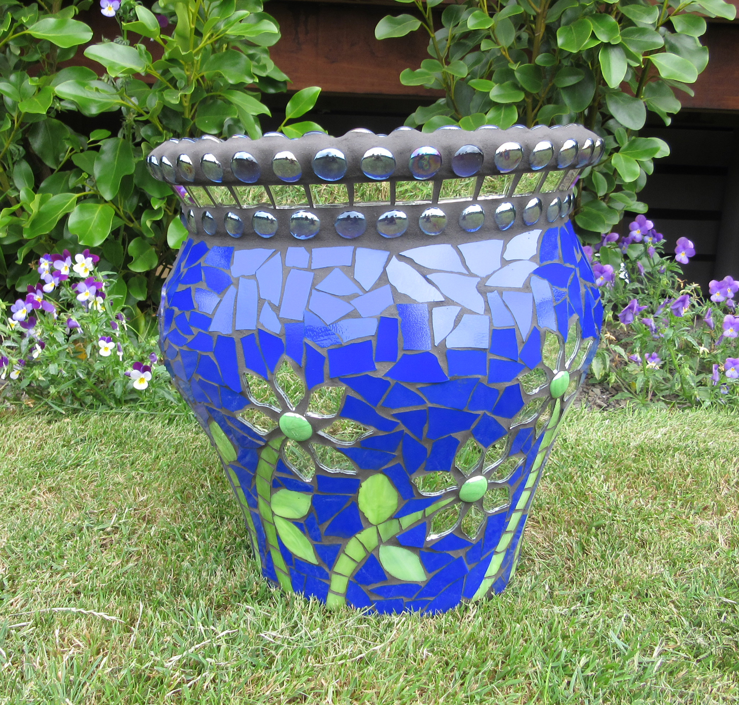 Glass mosaic pot by artist Sharon Carroll