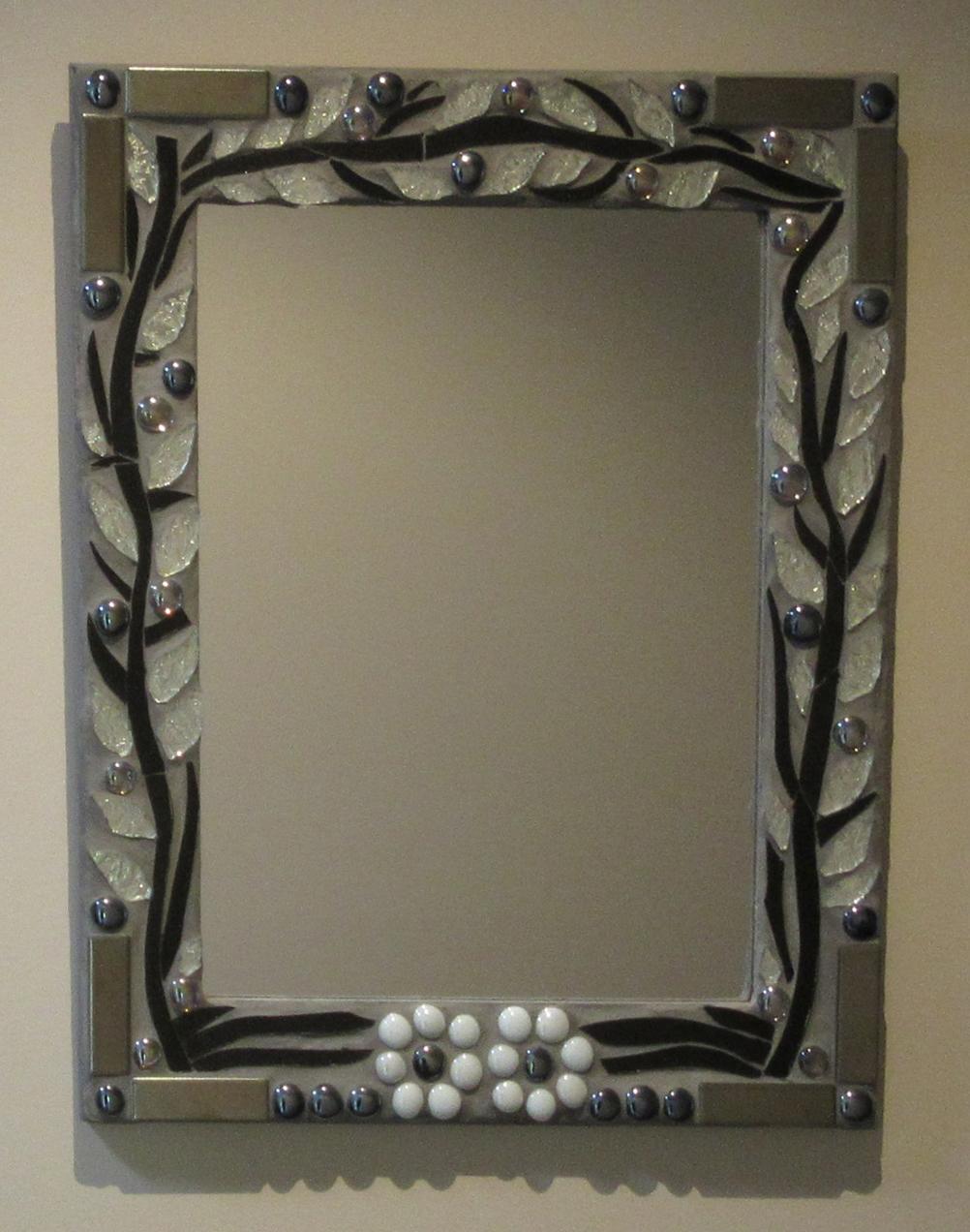 Sharon Carroll glass mosaic mirro silver &black