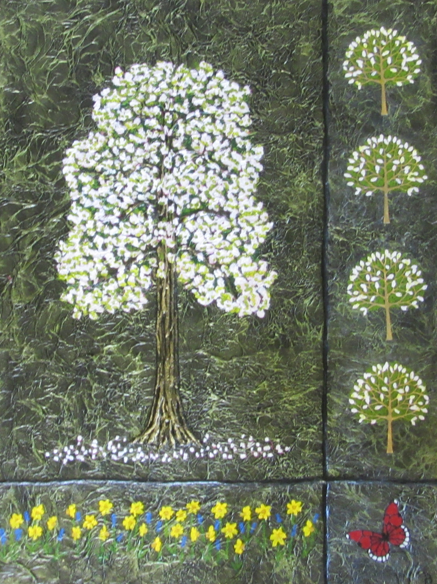 A painting by artist Bernard Carroll in mixed media entitled Spring.