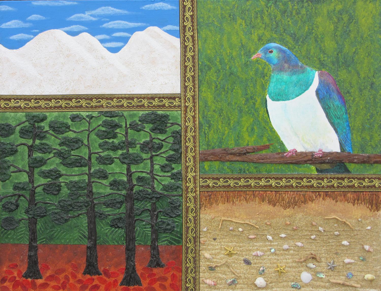 Bernard Carroll, mixed media, mountains, forest, kereru