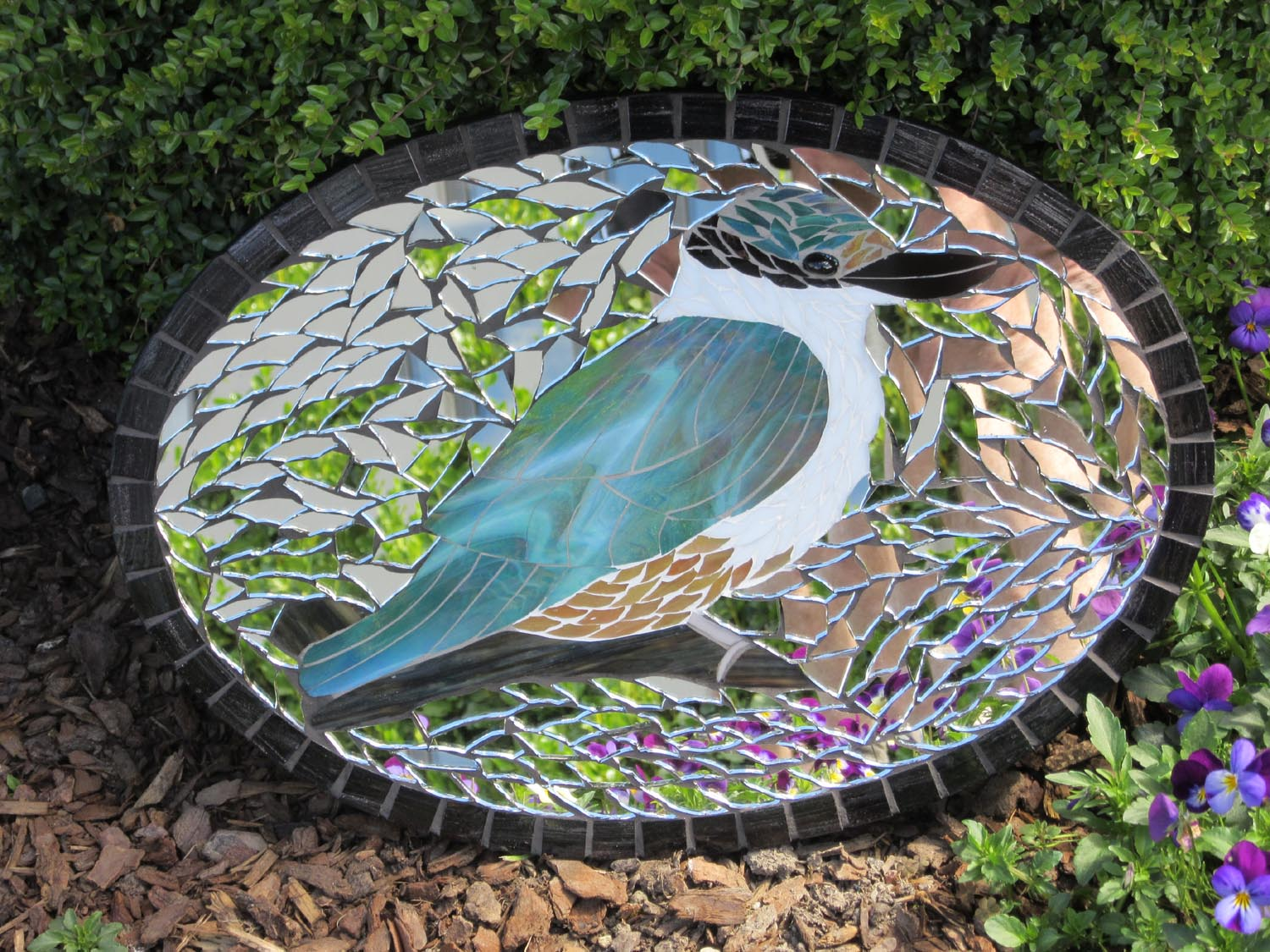 Sharon Carroll glass mosaic kingfisher mirror garden art